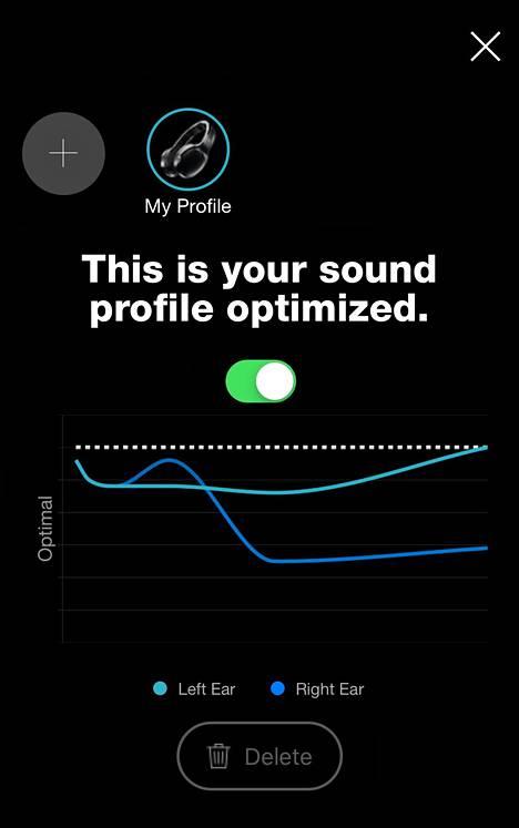 Sovellus laatii kuuntelijalle yksilöllisen ääniprofillin kuulokkeisiin kummallekin korvalle. Kuvakaappaus Skullcandyn puhelinsovelluksesta.