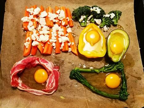 Esimerkki kahden ihmisen illallista varten. Tässä kokeiltiin myös sitä, kuinka paprikaan ja avokadoon upotettu kananmuna toimii.
