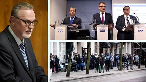 Antero Laukkasen (kd, kuvassa vasemmalla) mukaan nyt leikatut miljoona euroa on jakaantunut lukuisille eri järjestöille noin 10 000–30 000 euron osissa.