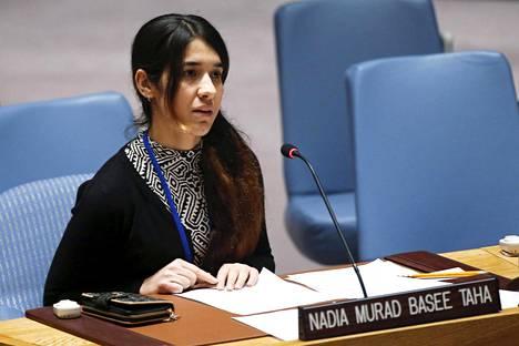 Nadia Murad puhui YK:n turvallisuusneuvostolle viime vuoden joulukuussa.