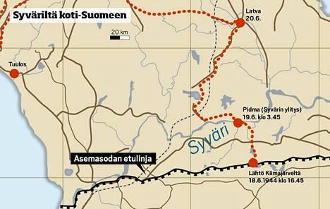 Suurhyökkäys Syvärillä 23. kesäkuuta 1944. JR 8 jättää asemansa 18.6. viholliselta salaa. Se käy viivytystaisteluita. Vihollinen pysäytetään lopula Loimolassa noin 60 kilometrin itään kohdasta, josta rykmentti aloitti 1941 etenemisensä.