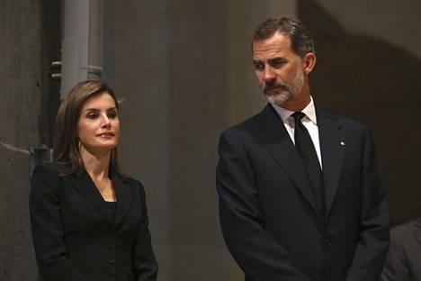 Kuningas Felipe ja kuningatar Letizia osallistuivat muistojumalanpalvelukseen.
