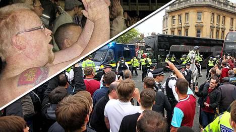 Bussin vieressä kulkeneet fanit olivat vaarassa pullosateessa. Yksi heistä oli suomalainen West Hamin fani Petri Nummela (kuvassa vasen ylänurkka).