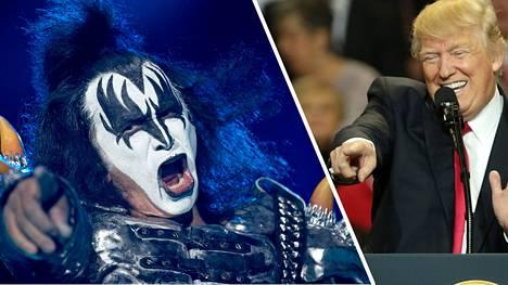 Gene Simmons kehuu Yhdysvaltain presidenttiä Donald Trumpia.
