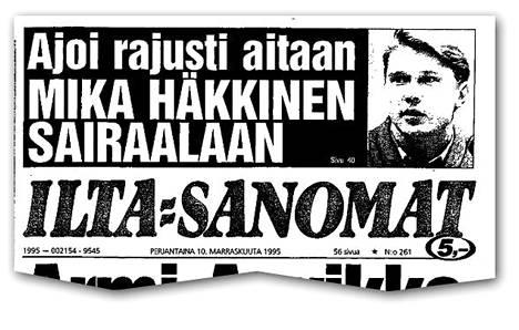IS kertoi Häkkisen onnettomuudesta aamupainoksessa 10.11.1995.