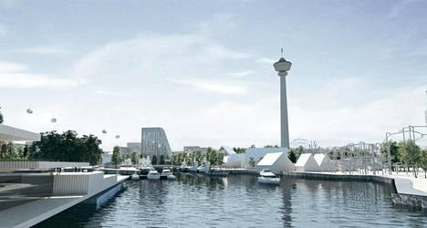 Näkymä hotellin ja Näsinneulan suuntaan idästä, tulevan Järvikeskuksen suunnasta.