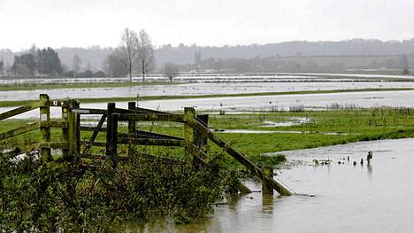 Lohduton näky Stathessa Lounais-Englannissa. Vesi tulvii pelloille ja poluille.