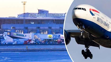 British Airwaysin kone pääsi jostain syystä laskeutumaan Tukholmaan. Arkistokuvat.