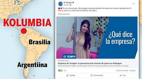 Onnettomuus tapahtui Kolumbian luoteisosassa. El Tiempo -lehti jakoi kuvan Yeceniasta.