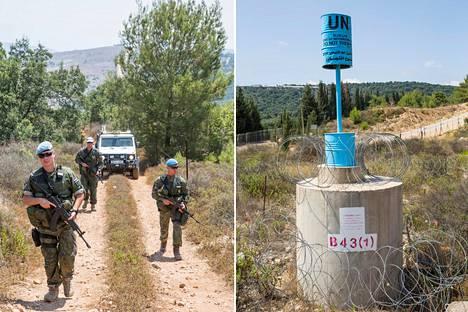 Iisko Savenius (vas), Janne Numminen ja Teemu Matilainen partioivat sinisellä linjalla, Libanonin ja Israelin rajalla.
