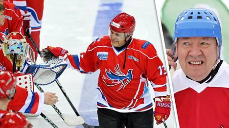 Jokerien nykyinen pääomistaja, kiekkolegenda Jari Kurri (oik.) kertoo muistavansa Mihail Mishustinin KHL:n juhlista.