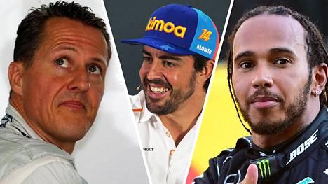 Fernando Alonso (keskellä) vertaili saksalaislehdelle uransa kovimpia kilpakumppaneita, Michael Schumacheria (vas.) ja Lewis Hamiltonia.