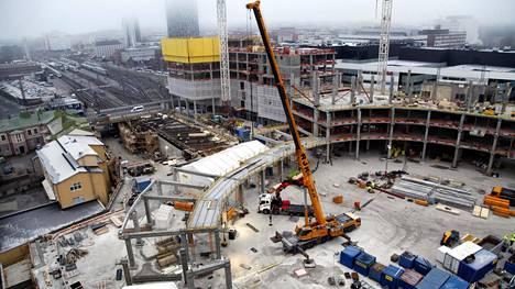 Tampereen areenan rakennustyömaa tammikuussa 2020.