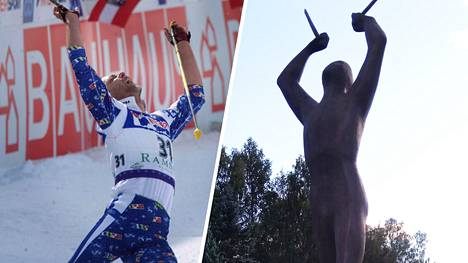 Mika Myllylän patsaan malli on otettu vuoden 1999 Ramsaun MM-kisojen 50 kilometrin maaliintulosta.