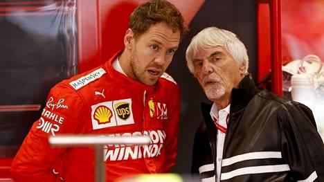 Sebastian Vettel ja Bernie Ecclestone.