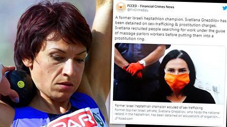Ukrainalaistaustaista ja Israelia yleisurheilun arvokisoissa edustanutta Svetlana Gnezdilovia syytetään ihmiskaupasta ja prostituutiosta.