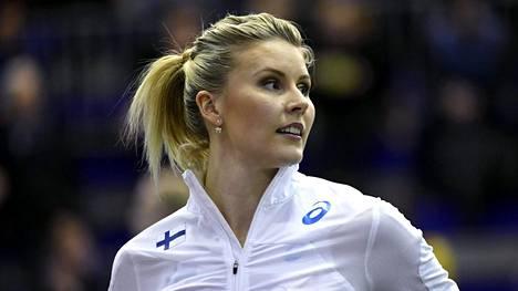 Kristiina Mäkelä loikki finaaliin EM-hallikisoissa.