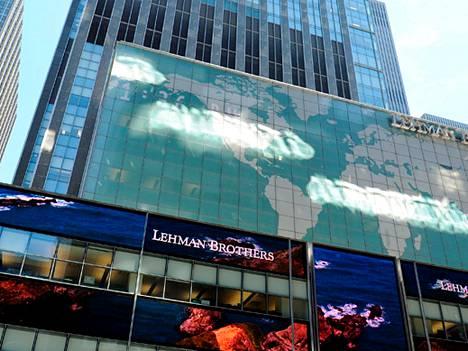 Lehman Brothers -pankki kaatui finanssikriisissä vuonna 2008.
