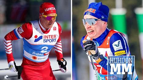 Aleksandr Bolshunov yrittää päihittää tänään Iivo Niskasen. Niskanen lähtee kilpailuun suosikkina.
