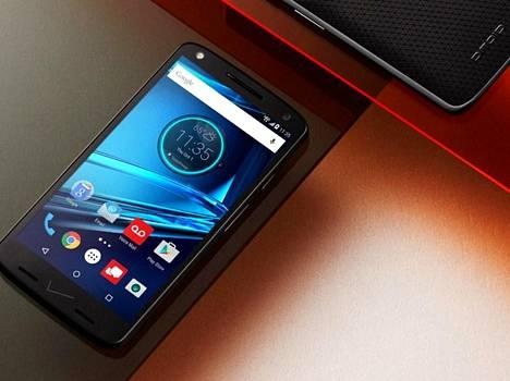 Motorolan Droid-malliston Droid Turbo 2 -puhelin. Jatkossa Motorolan puhelimet julkaistaan Moto- tai Vibe-nimellä, eikä Motorola-nimeä enää käytetä.