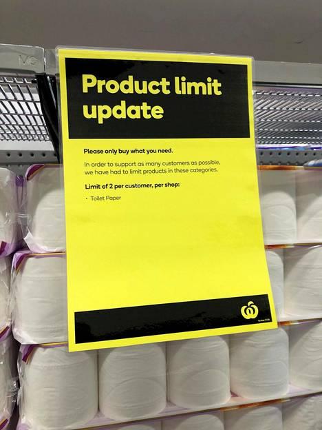 Wc-paperia saa ostaa vain kaksi pakkausta kerralla.