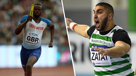 Pikajuoksija Rabah Yousifin (vas.) sijaan Iso-Britannian viestijoukkueeseen oli nimetty kuulantyöntäjä Youcef Zatat.