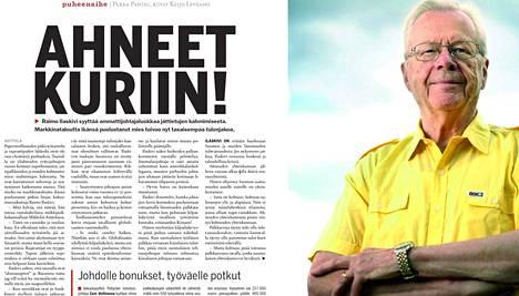 IS:n haastattelussa vuonna 2005 markkinataloutta ikänsä puolustanut Raimo Ilaskivi toivoi tasaisempaa tulonjakoa ja syytti ammattijohtajaluokkaa jättietujen kahmimisesta.