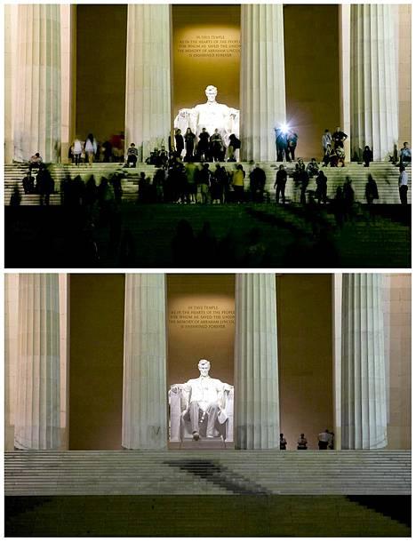 Washingtonin Lincoln-monumentti yläkuvassa viime sunnuntaina - ja alakuvassa eilen, kun kävijöiden pääsy muistomerkille oli estetty.