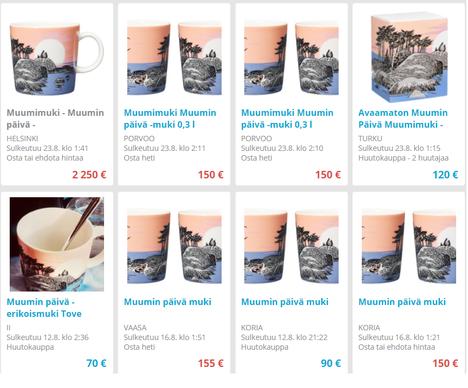 Nettihuutokaupassa mukit tulivat välittömästi myyntiin, osa yli 2000 euron hintapyynnöllä.