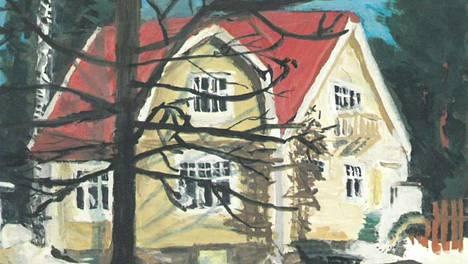 Maalaus talosta, jonka vanhoja pattereita ja kaakeliuuneja Kauniaisten kaupunki myy.