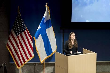 Sanna Marin piti puheen Columbian yliopistossa 6. maaliskuuta 2020.