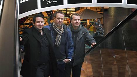 Sport Family -yrityksen kolmikko Christian Leikkainen, Jari Murtomäki ja Jani Jakka tapasivat yrityksen toiminnan suunnittelun merkeissä Vantaan Flamingossa.