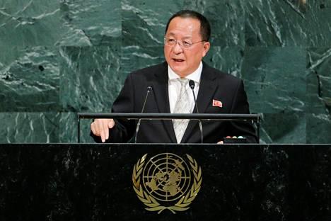 Ri Yong-ho esitti uhkauksen YK:n yleiskokouksessa.