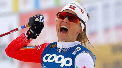 Therese Johaug kuvattuna Oberstdorfin MM-hiihdoissa.