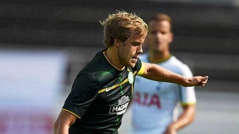 Teemu Pukki pelasi viime kuussa Helsingissä Celticin riveissä harjoitusottelussa Tottenhamia vastaan.