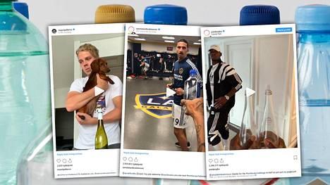 Markus Nutivaara, Zlatan Ibrahimovic ja Paul Pogba (oik.) ovat osallistuneet pullonkorkkihaasteeseen.