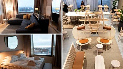 """Original Sokos Hotel Tripla avautui tänään maanantaina Pasilaan. Ylimmässä kerroksessa sijaitsevasta sviitistä on näkymä Pasilan ylle. Hotellinjohtaja Hanna Riihimäen mukaan majoittujissa on ulkomaisia turisteja, liikematkailijoita ja staycation-matkailijoita, eli lähialueen majoitustarjonnasta nauttivia. """"Kuluttaminen siirtyy materiaalista elämysten kuluttamiseen"""", hotellinjohtaja Riihimäki kertoo."""