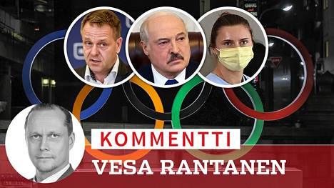 Valko-Venäjän vainoaman Krystsina Tsimanouskajan (oik.) dramaattinen pako on ollut Tokion kisojen pääpuheenaihe. Jan Vapaavuoren (vas.) kanta on jo kuultu, diktaattori Aljaksandr Lukashenkan (kesk.) näkemystä odotellaan vielä.
