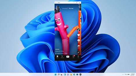 Windows 11:ssä toimivat Android-sovellukset. Kuvassa TikTok, josta ei ole tietokoneversiota.