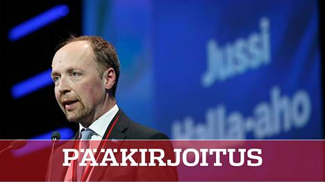 Jussi Halla-aho piti linjapuheen Perussuomalaisten puoluekokouksessa Tampereella 30. kesäkuuta.
