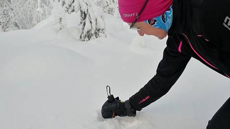 20 vuotta Lapissa hiihtoretkiä tehnyt Tuulikki koko harvinaisen lumisen Talven Levillä.