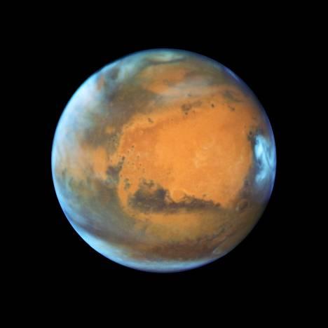 Hubble-avaruusteleskooppi tallensi tämän kuvan Marsista viime toukokuussa.