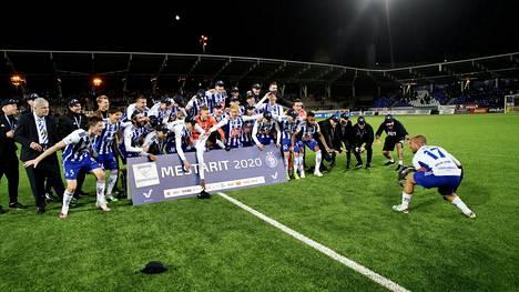 Kaudella 2020 Veikkausliigan mestaruutta juhli HJK. Ylä- ja alaloppusarjat jäivät koronapandemian vuoksi pelaamatta.