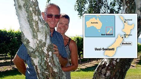 John Kennard ja Satu Lappalainen tapasivat Jyväskylässä. Nyt he viljelevät viiniä maailman toisella puolen Uudessa-Seelannissa.