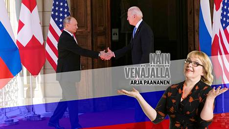 Vladimir Putin ja Joe Biden kättelivät Genevessä keskiviikkona.