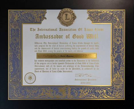 Tauno Hammar on saanut hyväntekeväisyystyöstään Lions-järjestön korkeimman kunniakirjan.