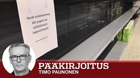 Koronahamstrauksen jälkiä Triplan Prismassa Helsingissä.