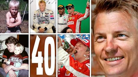 """Alfa Romeon F1-kuljettaja Kimi Räikkönen juhlii tänään """"isoa nelosta""""."""
