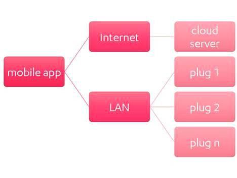 Näin laite yleensä toimii. Puhelinsovellus kirjautuu pilvipalvelimelle internetissä. Se myös viestii erikseen lähiverkon pistorasioille. Puhelin saa pilvestä tunnistekoodit, joilla rasioita hallitaan. Haavoittuvuus perustuu siihen, että puhelimen voi ko