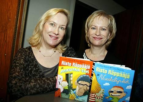 Käsikirjoittajat Tiina ja Sinikka Nopola Risto Räppääjä -elokuvan lehdistönäytöksessä Helsingissä tammikuussa 2008.